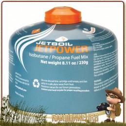 Cartouche de Gaz JETBOIL JETPOWER 230g mélange de gaz composé de isobutane, propane et butane pour réchaud randonnée