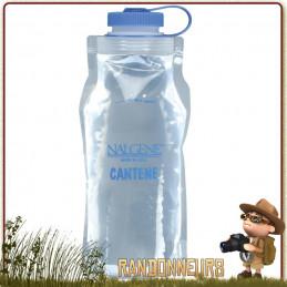 Gourde plastique Souple Nalgene Cantene Pliable 1.5 Litres sans BPA, ultra légère, adaptée à la randonnée ultra light