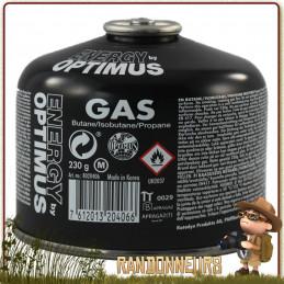 Cartouche Gaz OPTIMUS Tactical Line 230g butane et propane utilisation 4 saisons basses températures réchaud randonnée