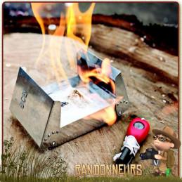 Kit Réchaud Bushcraft pliant et léger pour le camping et la randonnée légère avec tablette gel éthanol pierre à feu