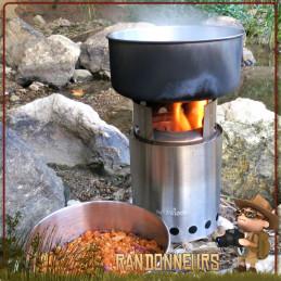 Réchaud à bois Solo Stove titan bushcraft inox double paroi très puissant grâce à son système de combustion des fumées