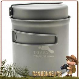 Popote Toaks Titane 1100ml Pot avec poêle pour la randonnée bivouac ultra léger  Livrée avec couvercle poêle