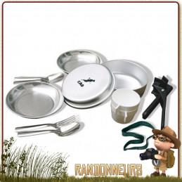 Popote Scout Aluminium cao 2 deux Personnes 12 pièces (faitout, poêle, assiette, cuiller, fourchette, pince, gobelet