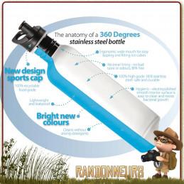 gourde inox 1 litre 360 degrés, une gourde pour randonner léger en inox 18/10 sans bpa ni vernis