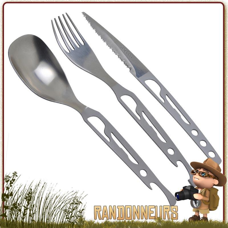 Kit couverts de randonnée camping voyage couteau fourchette cuillère ouvre boite
