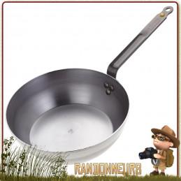 Poele acier mineral B bushcraft paysanne bord haut 28 cm De Buyer  compatible feu de bois
