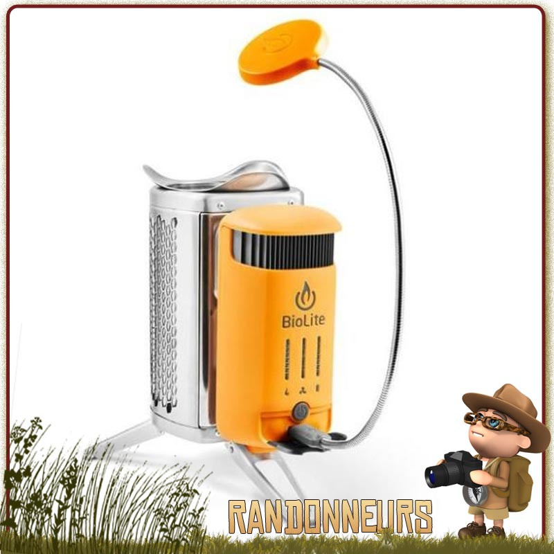 réchaud bois CampStove 2 Biolite convertir la chaleur en électricité pour recharger batterie nomade et téléphone portable