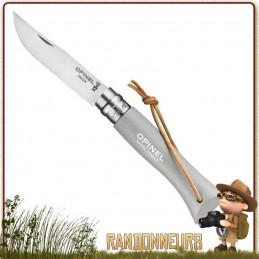 Couteau fermant Opinel 6 VRI manche en bois de charme vernis Gris Nuage de 9.3 cm avec lacet cuir
