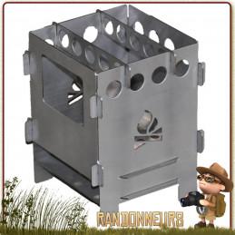 Réchaud BushBox de Bushcraft Essentials, un réchaud bois tout inox, multi combustibles (260 g) ultra compact